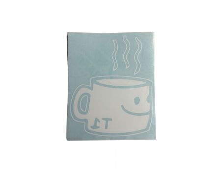 T1 Coffee Cup Window Sticker White